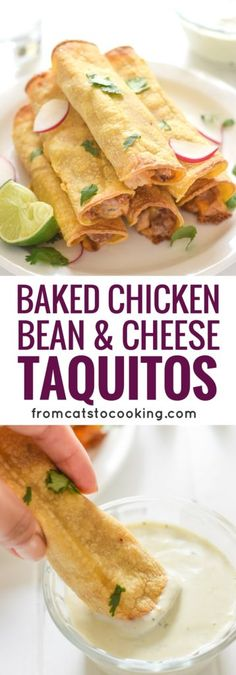 If you're looking for an easy, freezer-friendly meal, look no further than these Baked Chicken, Bean & Cheese Taquitos. Loaded with mashed pinto beans, shredded Mexican cheese and chili-spiced baked chicken, these taquitos are just like your favorite tacos, but less messy.