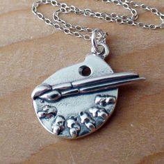 FashionJunkie4Life - Sterling Silver Artist Paint Palette Necklace
