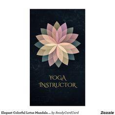 Elegant Colorful Lotus Mandala Black Grunge Yoga Business Card