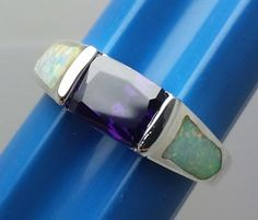 Lovely-Mexican-Fire-Opal-Purple-Stone-Silver-Ring-Size-7-5