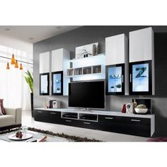 Ensemble TV design High gloss noir et blanc