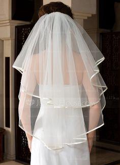 1 couche Voiles de mariée valse avec Bord en ruban (006036617) - JenJenHouse