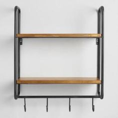Metal and Wood Skyler 2 Shelf Wall Storage