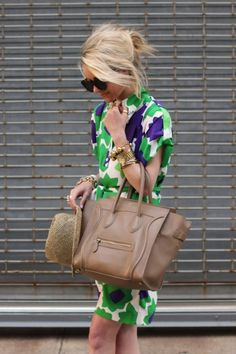 DVF Karin dress, Celine bag,Pour La Victorie shoes