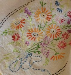 Vintage Floral Bouquet Embroidered Table Linen by MorrisseyFabric on Etsy