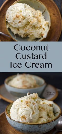 Coconut Custard Ice Cream - rich and creamy, like my favorite pie in an ice cream by maryann maltby Ice Cream Desserts, Frozen Desserts, Ice Cream Recipes, Fun Desserts, Frozen Treats, Ice Cream Cakes, Frozen Custard Recipes, Custard Desserts, Custard Ice Cream Recipe