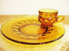 Indiana Glass Kings Crown Thumbprint Amber Snack Plates & Cups, Vintage set of 4