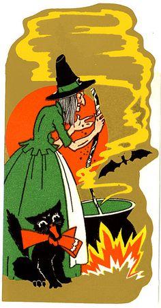 Vintage Halloween Decoration Witch Cauldron and Black Cat Vintage Halloween Cards, Vintage Halloween Decorations, Halloween Items, Halloween Pictures, Vintage Holiday, Spirit Halloween, Holidays Halloween, Halloween Outfits, Spooky Halloween