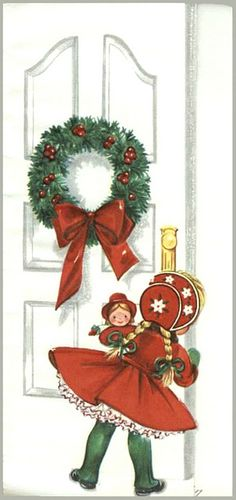 Vintage Christmas card.!...* 1500 free paper dolls including Christmas dolls international artist and author Arielle Gabriel's The International Paper Doll Society for my Pinterest paper doll pals *