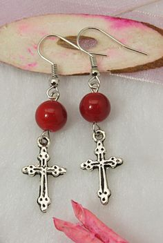 red bead earring