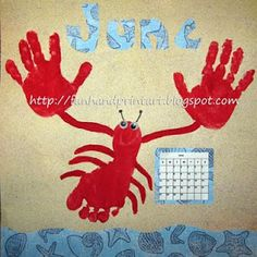 Handprint and Footprint Art : Handprint & Footprint Lobster for June - Handprint Calendar