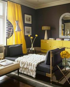 Julie Adama posted yellow curtains with grey walls to her -For the home- postboard via the Juxtapost bookmarklet. Yellow Gray Room, Grey Room, Living Room Grey, Living Room Decor, Bedroom Decor, Bedroom Ideas, Bedroom Yellow, Bedroom Colors, Yellow Walls