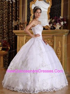 Popular White Quinceanera Dress Strapless Embroidery with Beading Ball Gown