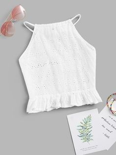 To find out about the Embroidered Ruffle Hem Halter Top at SHEIN, part of our latest Tank Tops & Camis ready to shop online today! Cropped Cami, Cami Crop Top, Cami Tops, Diy Clothes, Clothes For Women, Mode Top, Cotton Style, Top Pattern, Blouse Designs
