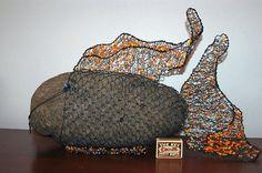Drátovaná ryba - stone decorated with wire