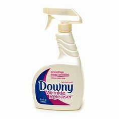 Homemade Downey Wrinkle Releaser  Take your empty DWR bottle (or other similar bottle).  Add 1/4 C. Of Downy (or your preferred brand) liquid fabric softener.  Fill the rest of the bottle with water.