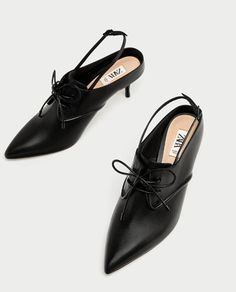 TIED HIGH HEEL LEATHER SLINGBACK SHOES from Zara