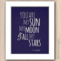 Nursery Art Print Baby playroom - 8x10 Sun moon stars - gray - pink - blue- green - Wall Decor on Etsy, $9.95