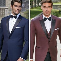 Opposite colour to their bridesmaid, both with third piece Tuxedo Wedding, Wedding Suits, Wedding Attire, Wedding Tuxedos, Navy Groom, Groom And Groomsmen Attire, Groom Tux, Navy And Burgundy Suit, Blue Suits