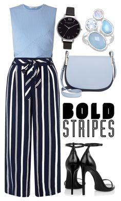 """#stripes"" by kataaak ❤ liked on Polyvore featuring Miss Selfridge, Monsoon, Yves Saint Laurent, Tommy Hilfiger and Olivia Burton"