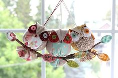 I& currently working on a new owl ornament pattern requested by Kay who has made over 100 of my bird ornaments, and wanted another simple a. Owl Patterns, Craft Patterns, Quilt Patterns, Fabric Ornaments, Bird Ornaments, Christmas Owls, Christmas Crafts, Christmas Ornaments, Fabric Birds