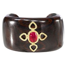 "JdJ  ""Sevilla""  Ruby , Yellow Sapphire and Cocobolo Wood Cuff"