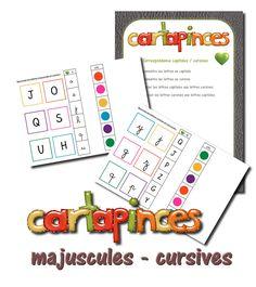 Voici un nouveau jeu, les Cartapinces ! Pour y jouer, il suffit d'imprimer, plastifier et d'avoir des pinces à linge avec les bonnes co...