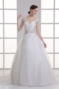 Robe de mariée en balle classique ornée de laçage V col en satin/organza