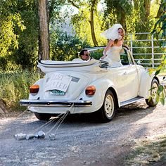 Cute white VW convertible to drive away in!