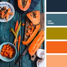 Blue Color Palettes, bright orange, color of pumpkin, color scheme, deep blue, green, olive, pale blue, pumpkin color, selection of colors, shades of orange, shades of pumpkin.