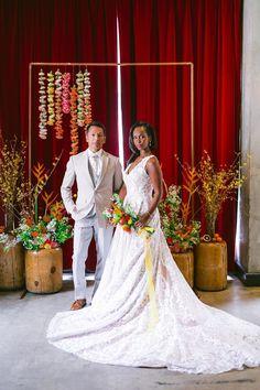 Styled Social LA: Painterly Citrus Wedding Inspiration with a Mid-Century Flair ⋆ Ruffled Ballroom Wedding Dresses, Floral Wedding Gown, Wedding Dress Sleeves, Long Sleeve Wedding, Brushstroke Cake, Groom Fashion, Minimalist Wedding Dresses, Groom Looks, Groom Style