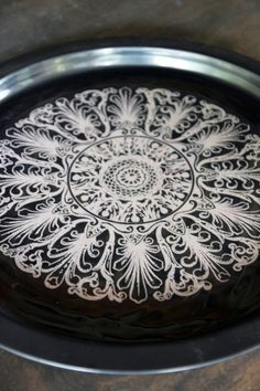 Floral Lace Print Black Tray - View All - Home Accessories