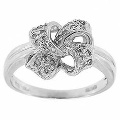 0.30 Cttw G VS Round Brilliant Cut Diamonds Bow Cocktail Ring in 14K White Gold #Cocktail