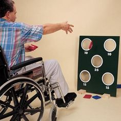 Bean bag toss-- site is selling this game but could make bean bags and some sort of target easily. Use for dementia patients (or anyone needing motor help) Games For Elderly, Elderly Activities, Senior Activities, Activities For Adults, Work Activities, Physical Activities, Senior Games, Community Activities, Occupational Therapy Assistant