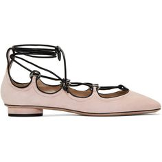 Valentino Pink Suede Ghillie Ballerina Flats ($950) ❤ liked on Polyvore featuring shoes, flats, pink, pink ballerina flats, square toe ballet flats, pink ballet shoes, suede ballet flats and ballet flats