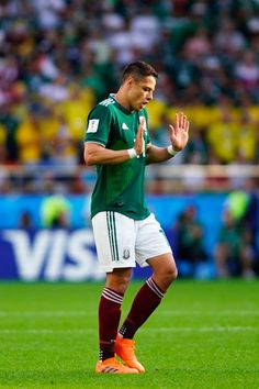 03256cbd8 Javier Hernandez of Mexico gestures during the 2018 FIFA World Cup Russia  group F match between