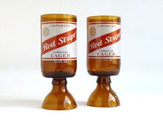 Red Stripe Beer Bottle Goblet Drinking Glasses Set of by BoMoLuTra, $14.99. I would use these as candle holders but they could definately be DIYed out of any bottle.