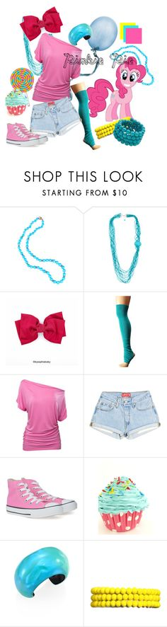 """""""Pinkie Pie Inspired"""" by rarimena ❤ liked on Polyvore featuring Sylva & Cie, ToeSox, Converse, Alexis Bittar, Amrita Singh, Kenneth Jay Lane, contest, Pink and MLP"""