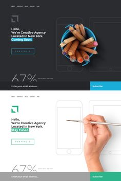 'Sati' is a free under construction WordPress theme that offers a dark or light color scheme, both pictured here. Other than the common newsletter sign up box, there are bonus (overlay) sections for About, Portfolio Gallery, Skills and Contact.