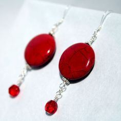 Handcrafted Silver and Red Dangle Earrings by tkmJewelryDesign, $18.00