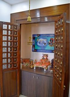 Puja room Simple tricks to build a Beautiful Pooja Room for Indian Homes How to choose contemporary Pooja Room Door Design, Bedroom Door Design, Indian Bedroom Design, Indian Home Design, Altar, Temple Design For Home, Wooden Door Design, Wooden Doors, Indian Homes