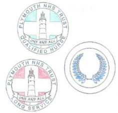 The winning designs for the nursing and midwifery badge, which will be given to all registered and non-registered nurses and midwives after one year of service and ten. Registered Nurses, Nurse Badge, Midwifery, Red Background, Blue Backgrounds, Plymouth, Nursing, Trust, Hospitals