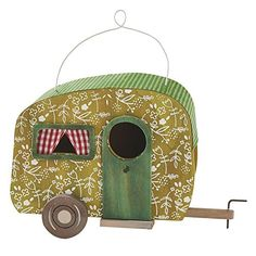 These amusing camper birdhouses are a fun conversation piece for your porch or family room.. Designed to hang or sit, this birdhouse is for decorative use only and will be right at home in your countr