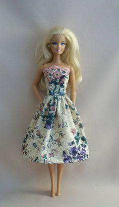 Handmade Barbie Doll ClothesBeige Floral by PersnicketyGrandma, $5.00