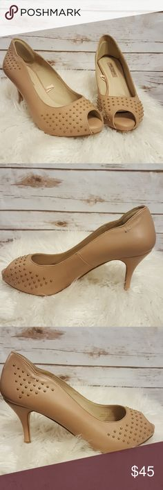 """Zara Woman nude studded peep toe heels/ 3"""" Nude colored Zara heels with gold studs. 3 inch heel. S/S 2011. EUC, other than some creasing on inner right shoe. Zara Shoes Heels"""