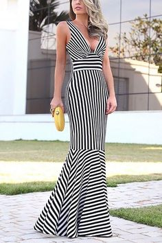 Sexy Deep V Collar Stripe Fishtail Maxi Dress - Style Evening Dresses Dresses Elegant, Sexy Dresses, Evening Dresses, Fashion Dresses, Summer Dresses, Fashion Styles, Dress Outfits, Latest Fashion, Summer Outfits
