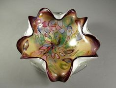 LARGE Murano Italian Venetian Glass Bowl with Original Tag/ Millefiore Aventurine by @Successionary, $162.99
