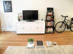 Tamar's Sunny Studio - put tv etc on cupboard for extra storage