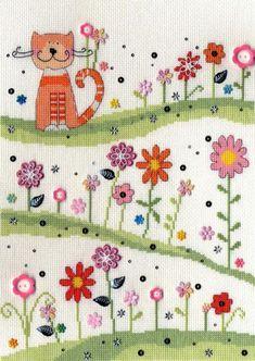 Daisy Patch Cat Cross Stitch Kit   sewandso