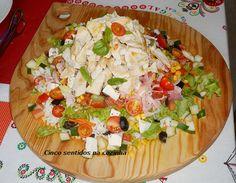 Cinco sentidos na cozinha: Salada de arroz com bifes de frango, fiambre e que...